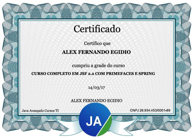 Certificado JSF 2.2 com PrimeFaces e Spring