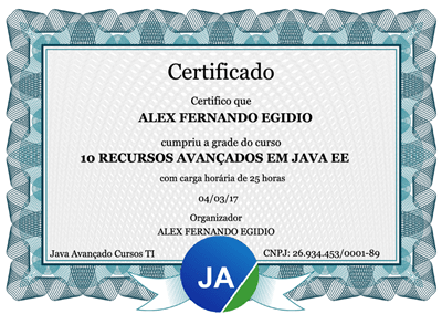 Certificado de 25 horas do curso Java Web