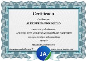 Certificado de 30 horas do curso de JSP